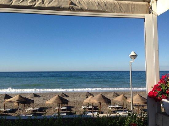 Hotel Perla Marina : Beach from hotel snack bar