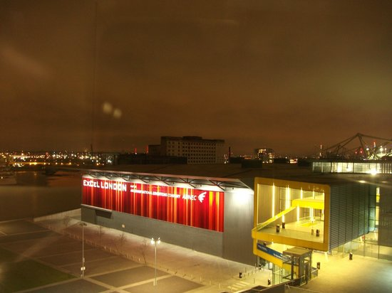 Aloft London Excel: Excel venue at night, but we heard no noise in our soundproof room