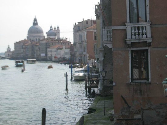 Hotel Galleria: View of my room and the Grand Canal from the Accademia Bridge