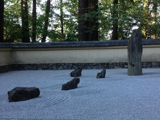 Portland Japanese Garden: I thought these rocks looked like little capybaras swimming toward their guru.