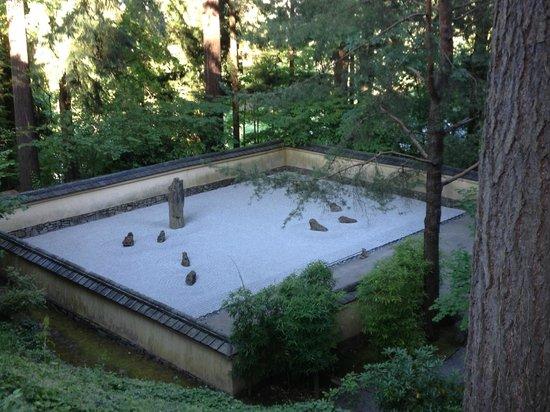 Portland Japanese Garden: View of Zen meditation garden from above.