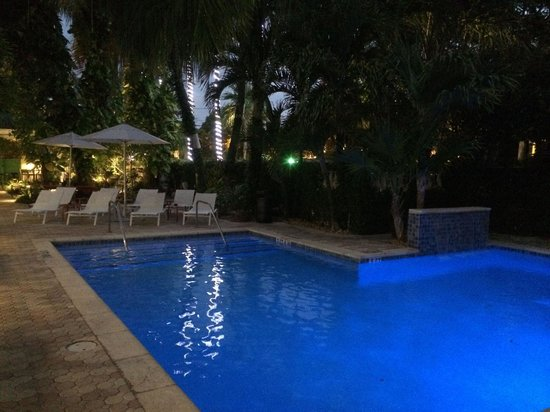 Almond Tree Inn: The pool area at night
