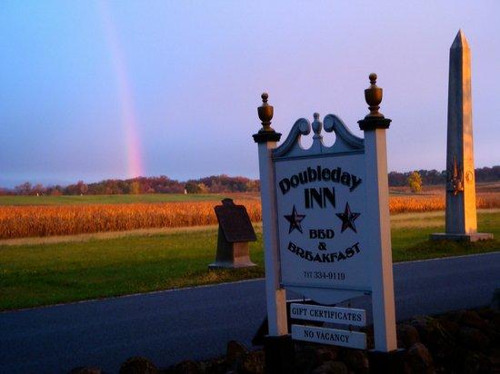 The Doubleday Inn: Sunrise with a rainbow