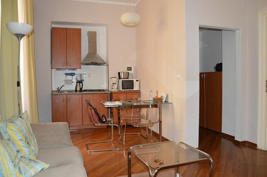 Residence Masna - Prague City Apartments : Sofa and kitchen of a studio apartment at Residence Masná