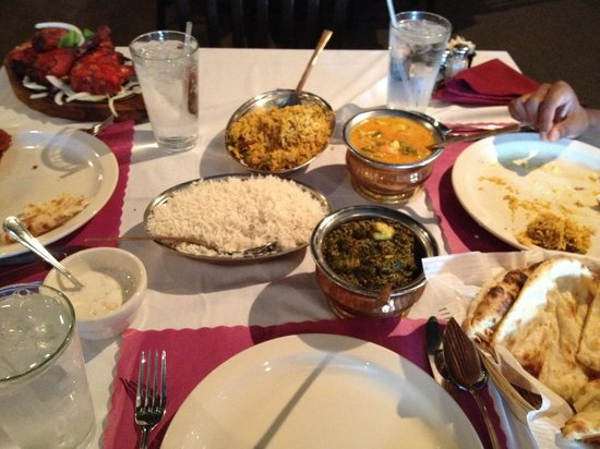 India Palace: Got the palak paneer, naan, navrathan korma, lamb biryani, tandoori chicken, and raita