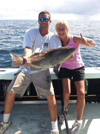 Reel Trick Charters: Nice Grouper!  Nice fight.