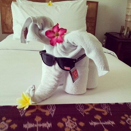 Sri Ratih Cottages: our sunglasses displayed by room service