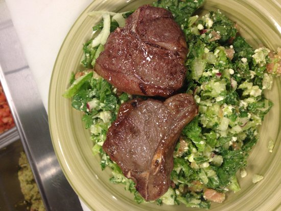 Modern Mixture: Lamb chops on top of Greek chopped Salad