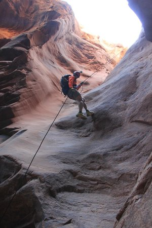 Moab Desert Adventures: First Rappel on Morning Glory route