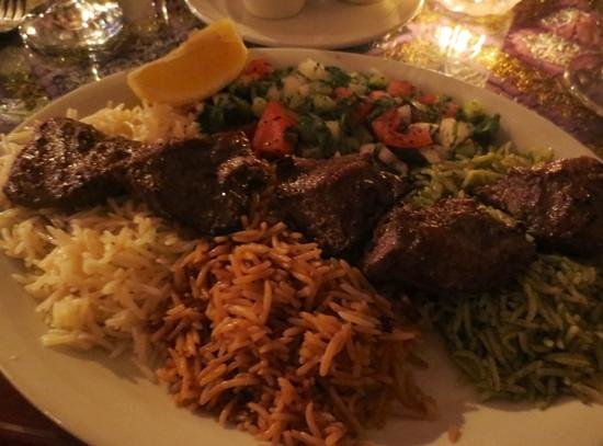 Khyber Pass: Tender lamb kebab and 3 kinds of rice