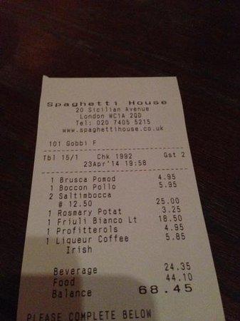 Spaghetti House Sicilian Avenue: our bill for the evening