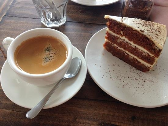 The Coffee House: carrot cake and long black