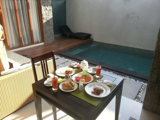 Breakfast served in our villa