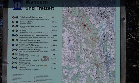 Map of Hiking Trails Picture of Uetliberg Mountain Zurich