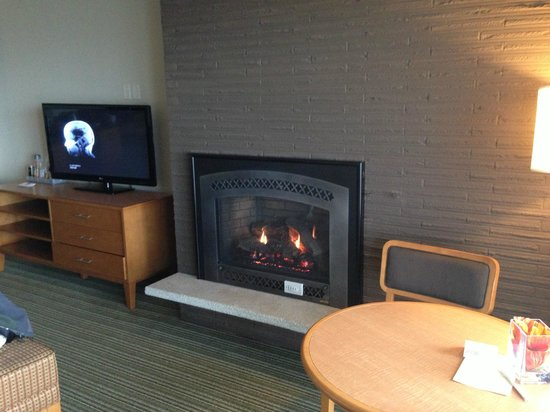The Coho Oceanfront Lodge: fireplace in room