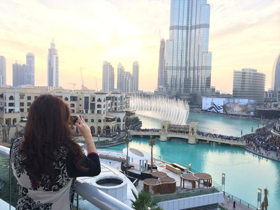 The Address Downtown Dubai: View from the Club lounge terrace (level 7)