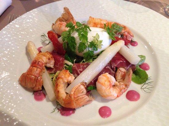 Le Verger de la Mer : Salade de langoustines,œuf mollet...