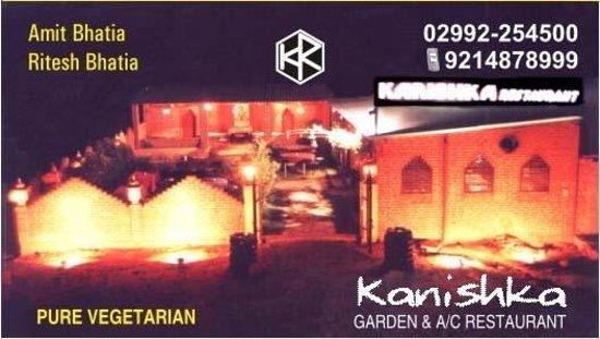 Kanishka Restaurant: visiting card