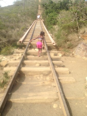 Koko Crater Trail: My daughter at the beginning of the hike