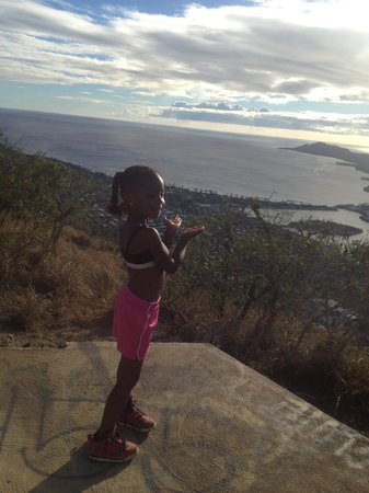 Koko Crater Trail: My daughter at the top of the trail