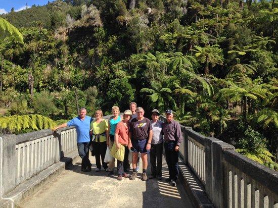 Whanganui River Adventures: Line up on the Bridge to Nowhere
