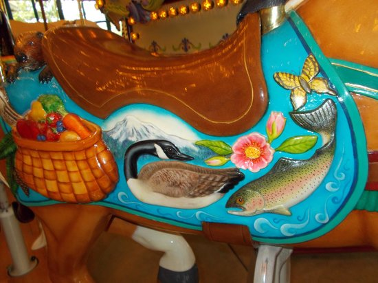 Salem's Riverfront Carousel: Detailed painting on the Oregon horse