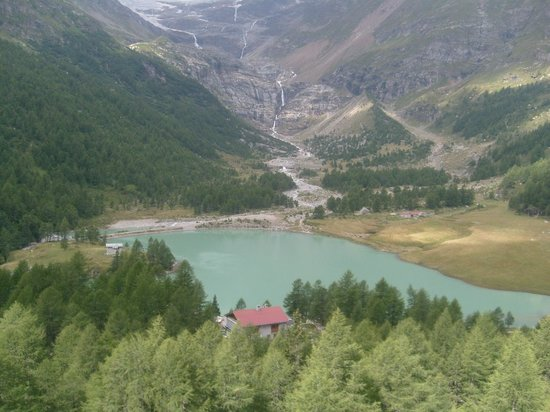 Bernina Pass: View from the station Alp-Grüm