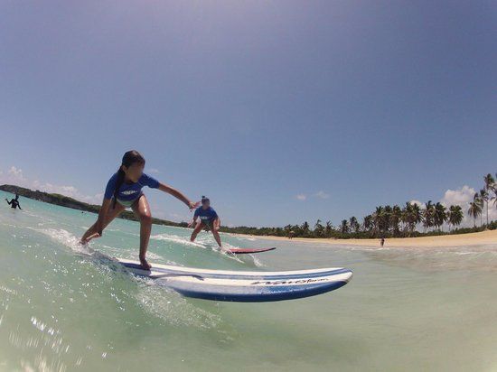 Macao Surf Camp: Our 9-yr-old nails her first wave.