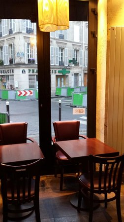 Tabac des Ministeres: View to the intersection ... construction barriers are temporary