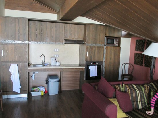 Le Hameau du Kashmir: Kitchen lacks worktop space in design, but room is large.