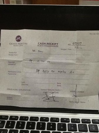 Grand Mercure Jakarta Harmoni: Cash Receipt no 07927 dari Reception hotel
