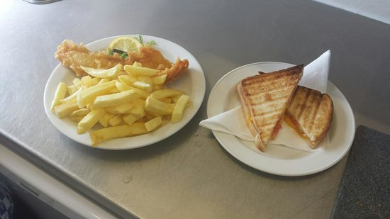 Fort Cafe: The small fish and chips  A cheese and tomato toastie