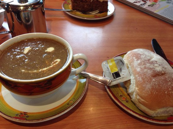 The Coffee Corner: Freshly blended mushroom soup with bread roll.