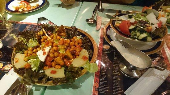 Shangri la: Bean salad and green salad