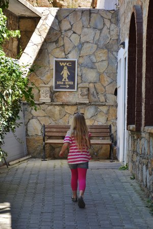 Meryemana (The Virgin Mary's House): love the potty sign, but also the rock looks the same as the arched wall.