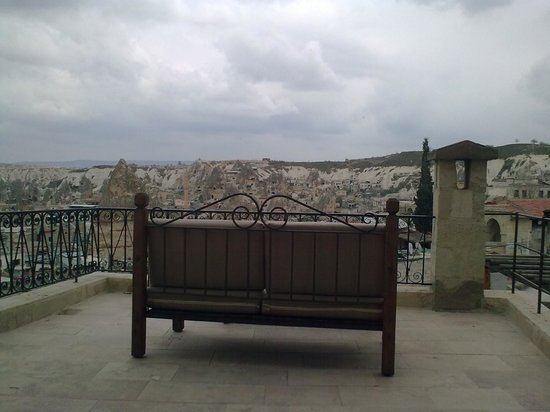 Sultan Cave Suites: view from covered sitting area, room no 309