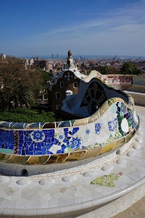 Barcelona Day Tours: Park Guell with La Sagrada Familia in background