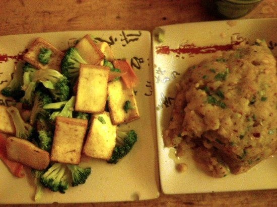 Heavenly Manna : Broccoli and fried goat cheese on the left; Grandmother potatoes on the right.