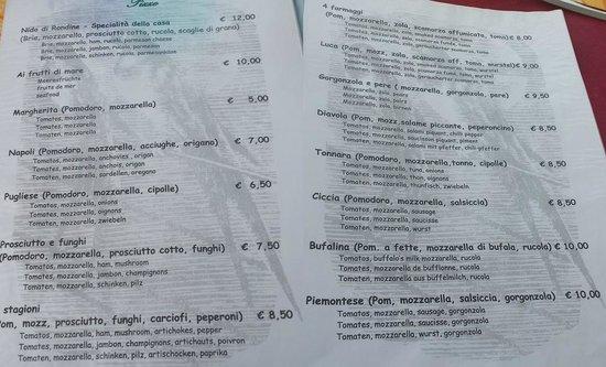 Isola Pescatori, Włochy: Menù Pizze