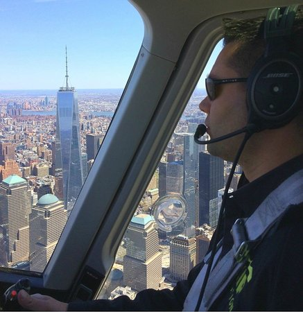Zip Aviation - Helicopter Tours & Charters : Zip guide James Hershman flying past One World Trade Center