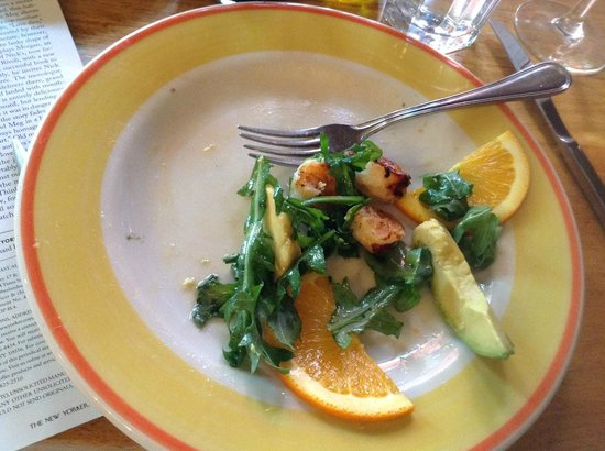 Fragole Ristorante : nice salad: grilled shrimp, avocado and oranges on arugula