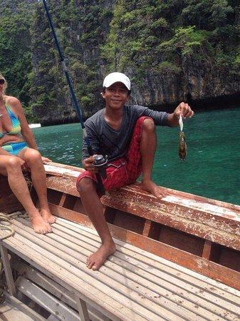 Ao Nang, Thailand: Ret has caught his Squid, so happy xx
