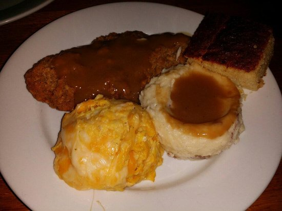 The Yesterday Cafe: Country fried steak, mashed tates, squash casserole and cornbread..