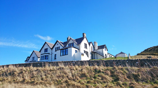 The Bettyhill Hotel sits in a prominent position overlooking Torrisdale Bay and the sea.