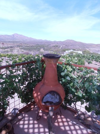 Charron Vineyards & Winery: From the deck...chairs around the fireplace make a great setting