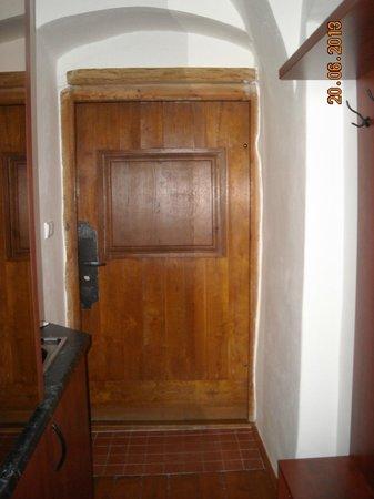 Residence Muzeum Vltavinu: Входная дверь, слева немного видно кухню