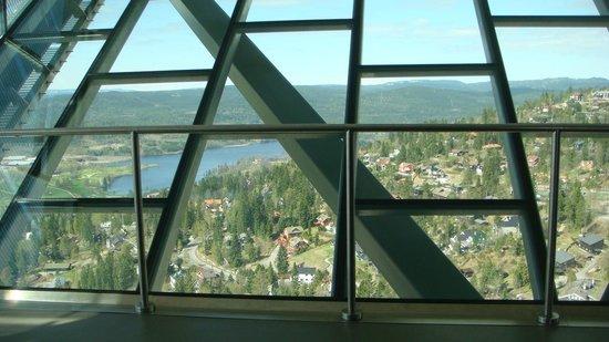 Musée du ski de Holmenkollbakken : Veduta dal trampolino dopo presa l'ascensore