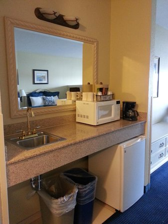Blue Harbor Resort : Microwave and mini-fridge. Large garbage can and recycling bin.