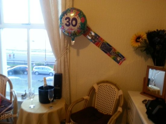 The Winchmore Hotel: The champagne and some of the decorations set up for my birthday surprise