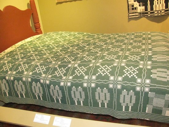 National Museum of the American Coverlet: Geometric and green, one of my favorite coverlets.